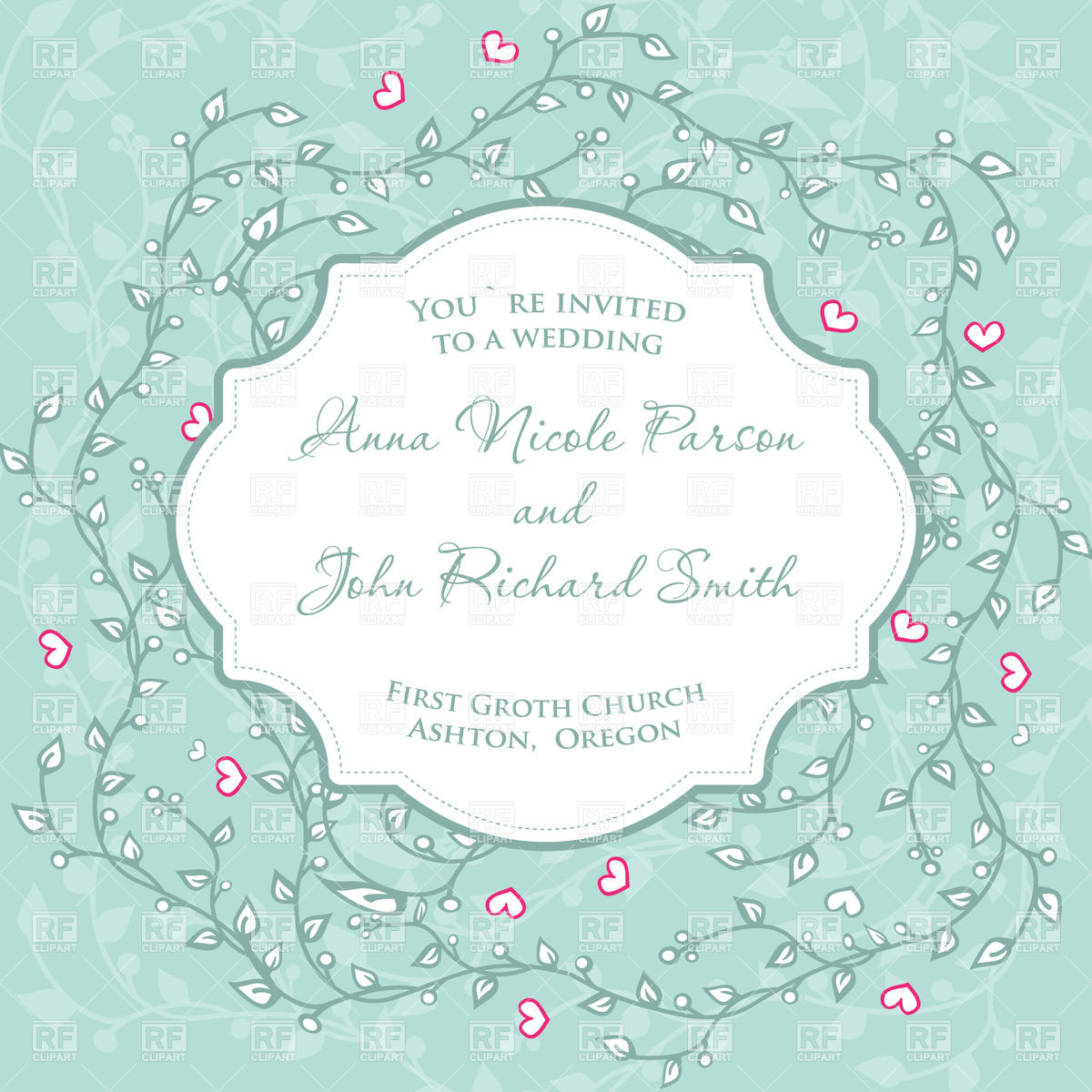 1200x1200 Wedding Invitation With Floral Ornament And Frame Vector Image