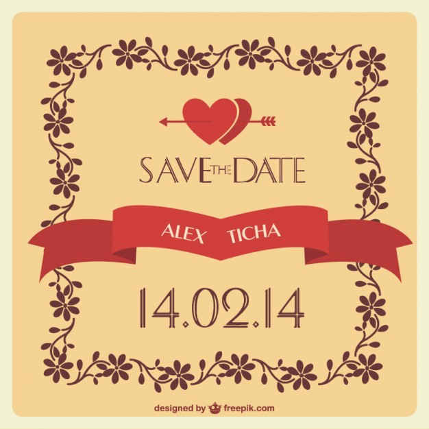 626x626 Wedding Invitation With Hearts And Floral Frame Vector Free Download