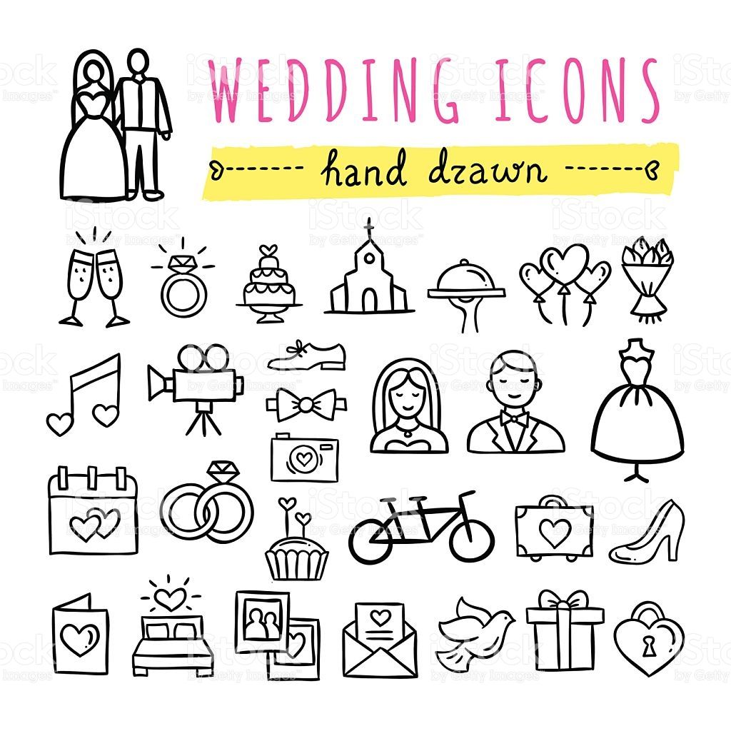 1024x1024 Hand Drawn Wedding Icons. Marriage, Engagement, Love, Couple
