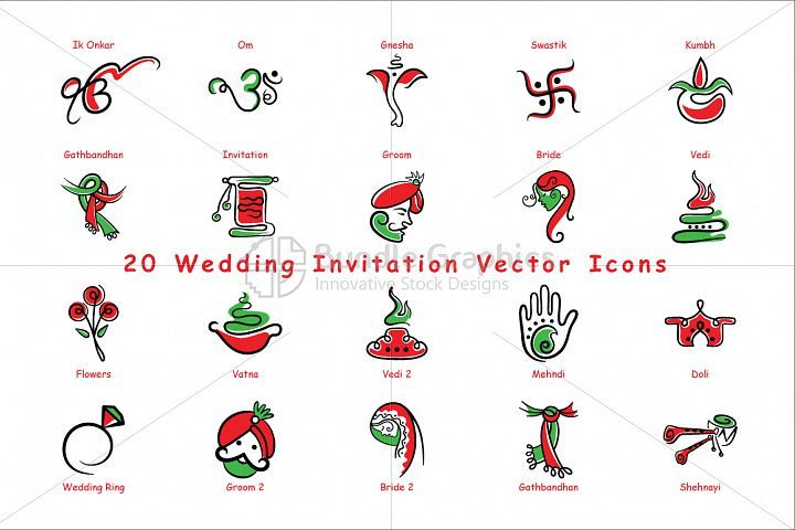 720x480 Indian Wedding Invitation Icons Vector Design Bundles Gathered