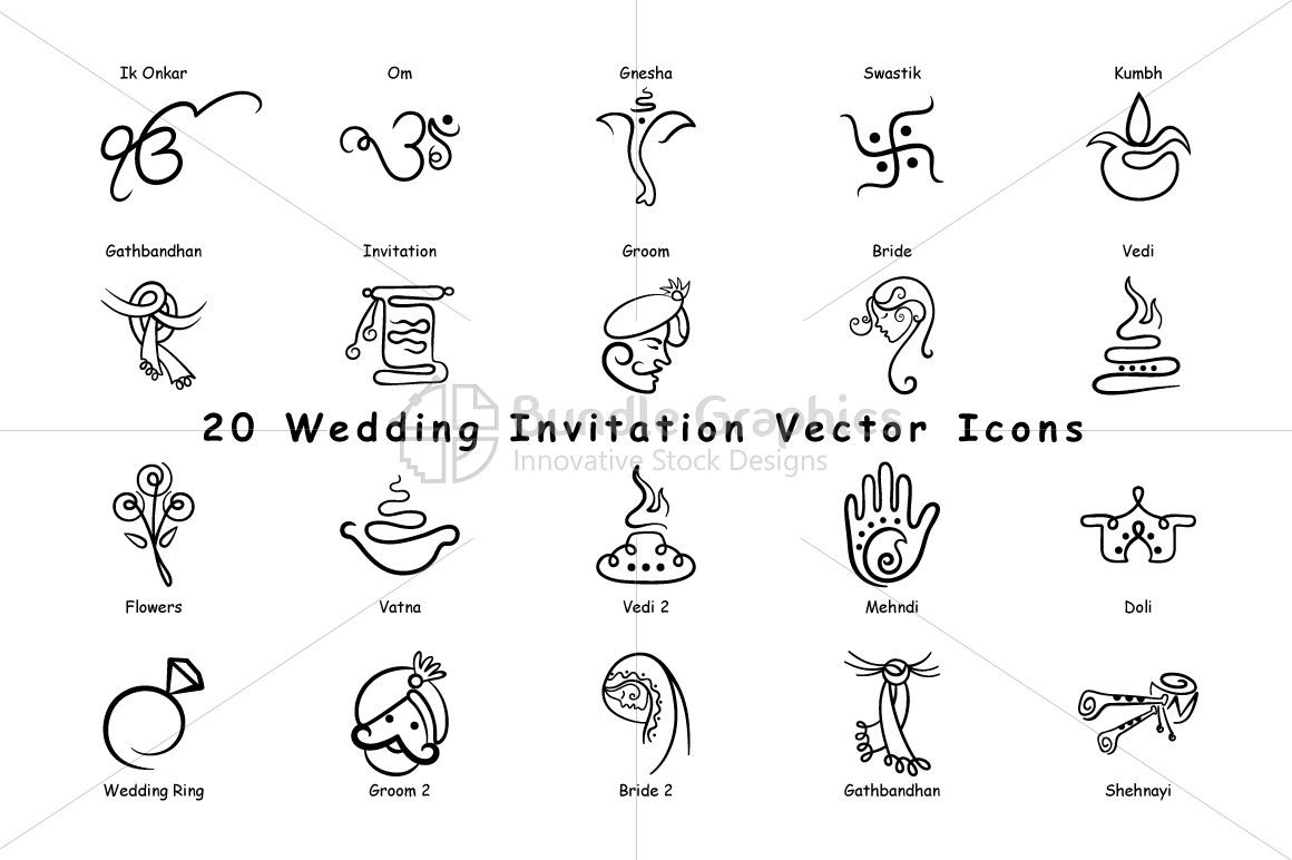 1160x772 Indian Wedding Invitation Icons Vector Pack Of 20