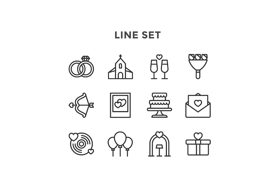 900x617 Set Of Free Wedding Icon Vector