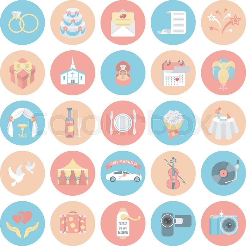 800x800 Set Of Modern Flat Vector Round Wedding Icons Stock Vector