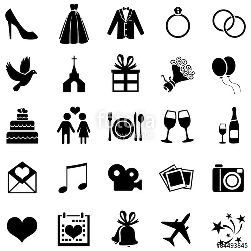 500x500 Vector Set Of 25 Wedding Icons Stock Image And Royalty Free