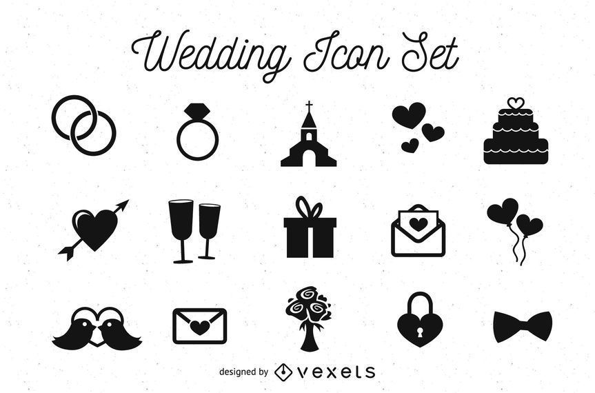 863x570 Black Amp White Wedding Icon Pack