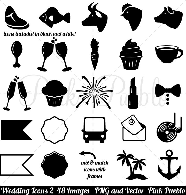 720x754 Wedding Icons Clipart Clip Art 2 Vintage Black And White Etsy