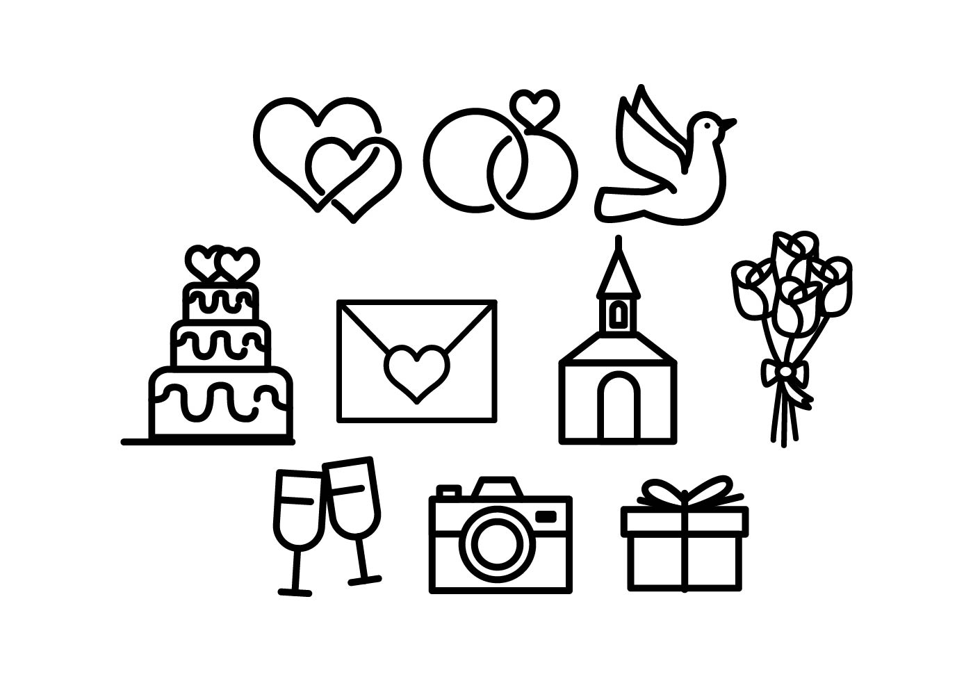 1400x980 Wedding Icons Free Vector Art