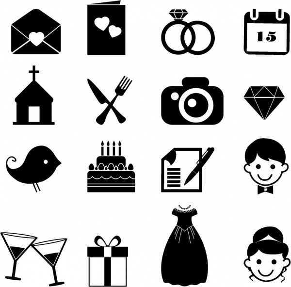 600x592 Wedding Icons Free Vector In Adobe Illustrator Ai ( .ai