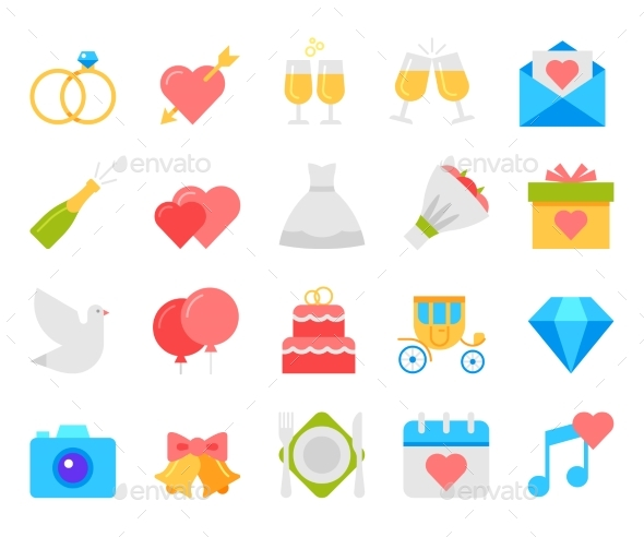 590x492 Wedding Icons Set, Flat Design Vector By Kuroksta Graphicriver