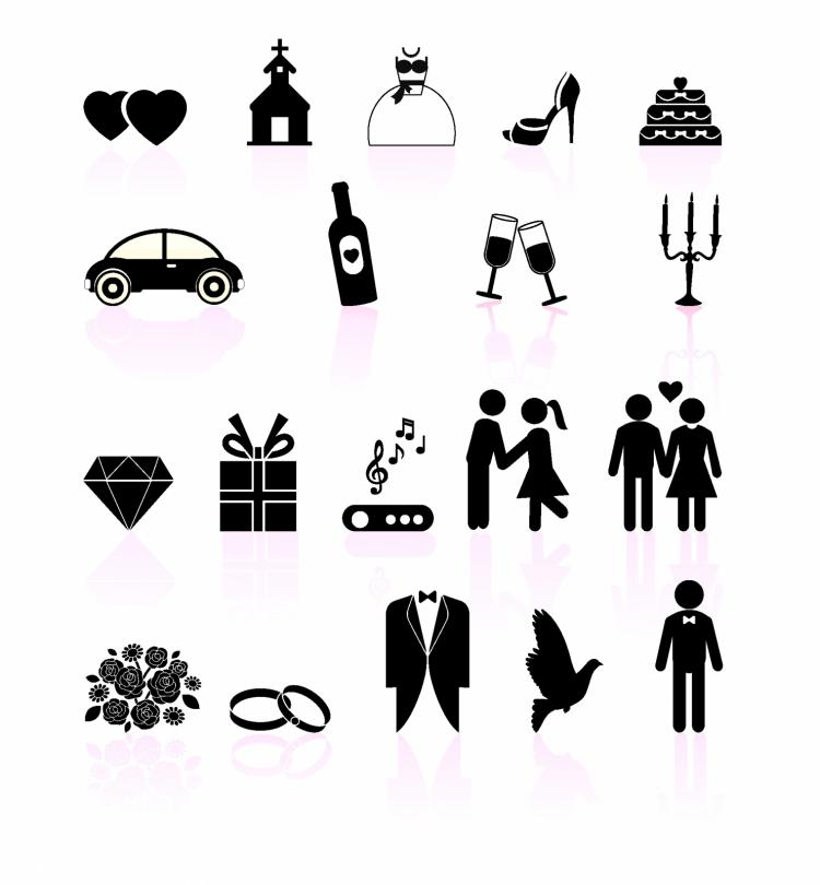 750x810 Wedding Day Black And White Set Icons Free Vector 4vector