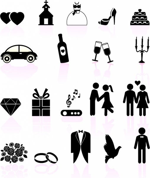 508x600 Wedding Day Black And White Set Icons Free Vector In Adobe