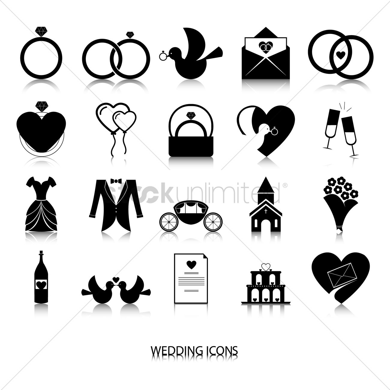 1300x1300 Collection Of Wedding Icons Vector Image