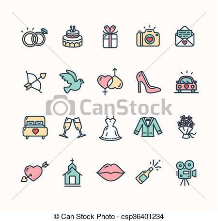 450x456 Wedding Icon Set. Vector. Wedding Colorful Icon Set On White