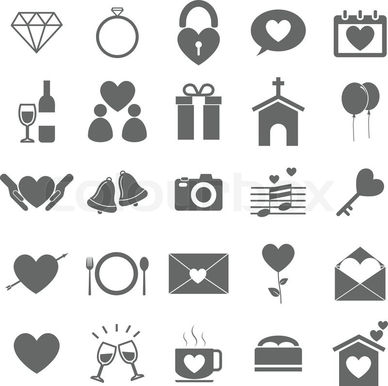 800x797 Wedding Icons On White Background, Stock Vector Stock Vector