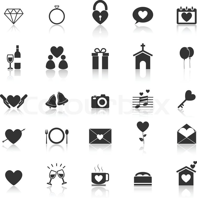 751x800 Wedding Icons With Reflect On White Background, Stock Vector