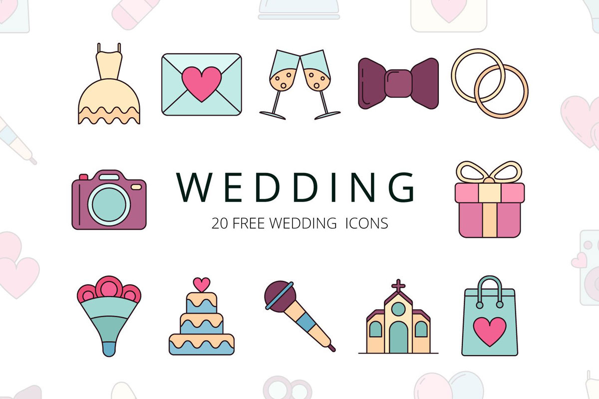 1200x800 Free Wedding Vector Icon Set
