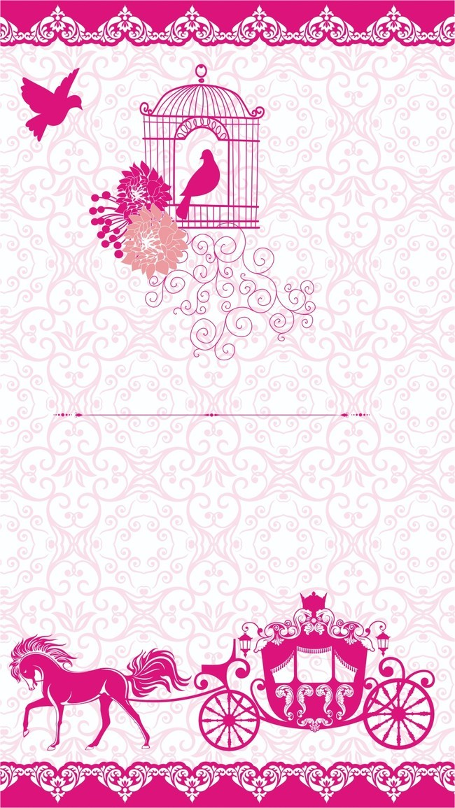 650x1155 H5 Simple Wedding Invitation Vector Background Material, Simple