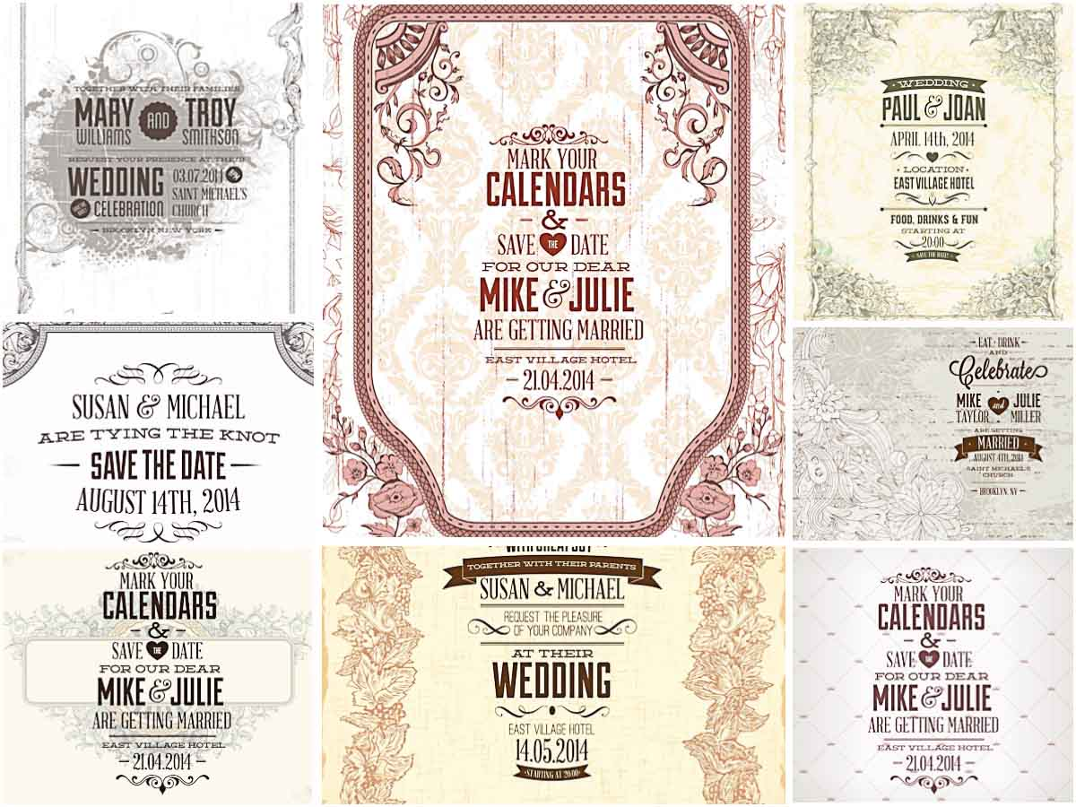 1200x900 Light Graphic Wedding Invitations Vector Free Download