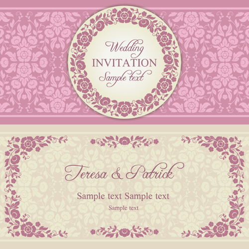 500x500 Ornate Pink Floral Wedding Invitations Vector 01 Free Download