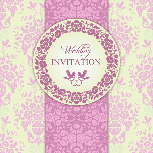 500x500 Ornate Pink Floral Wedding Invitations Vector 03 Free Download