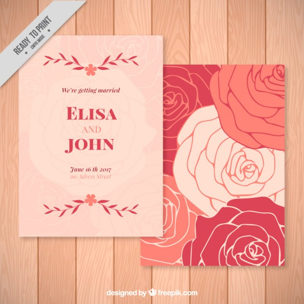 626x626 Roses Wedding Invitation Vector Free Download