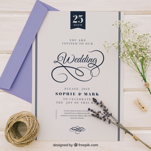 626x626 Sophisticated Wedding Invitation Vector Free Download