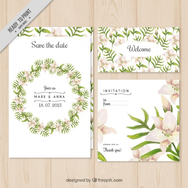 626x626 Ai] Floral Wreath Wedding Invitation Vector Free Download