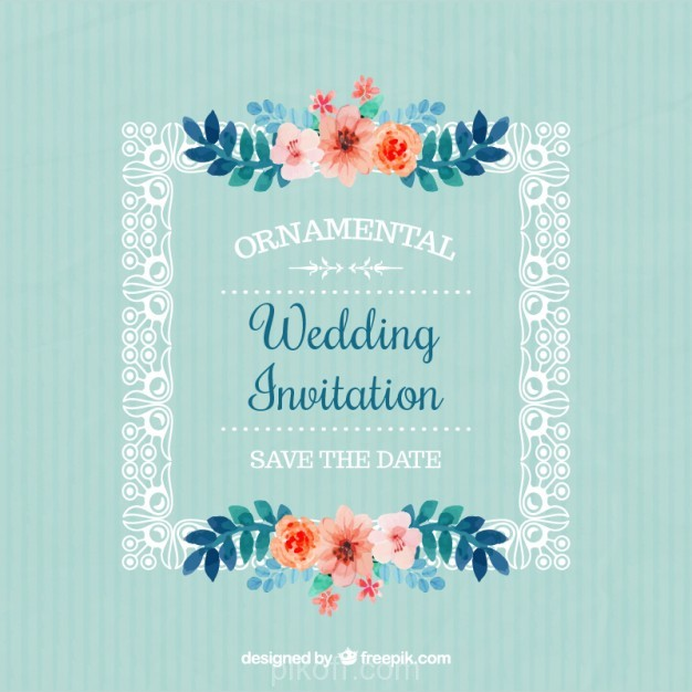 626x626 Ai] Frame With Flowers Wedding Invitation Vector Free Download