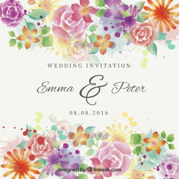 626x626 Ai] Watercolor Beautiful Flowers Wedding Invitation Vector Free