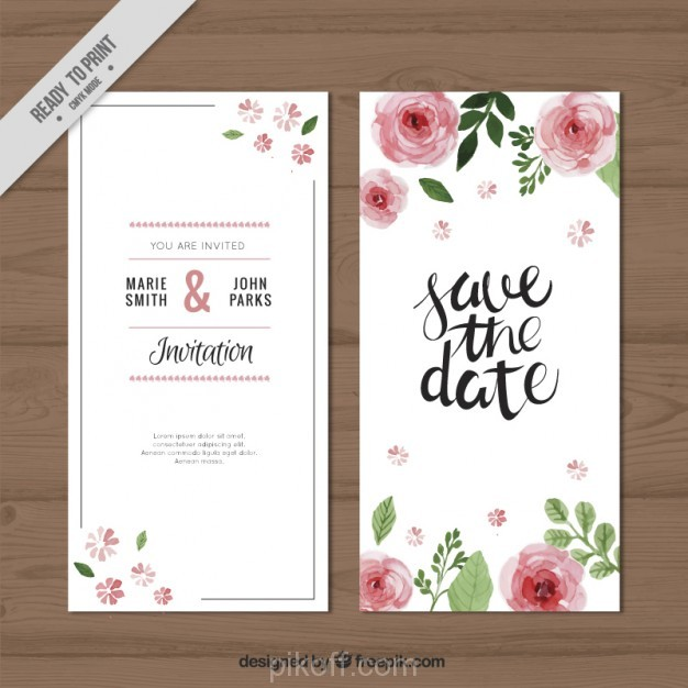 626x626 Ai] Watercolor Roses Wedding Invitation Vector Free Download