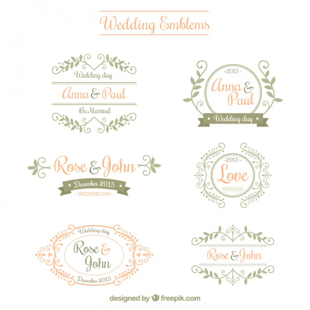 626x626 Ornamental Wedding Emblems Vector Free Download