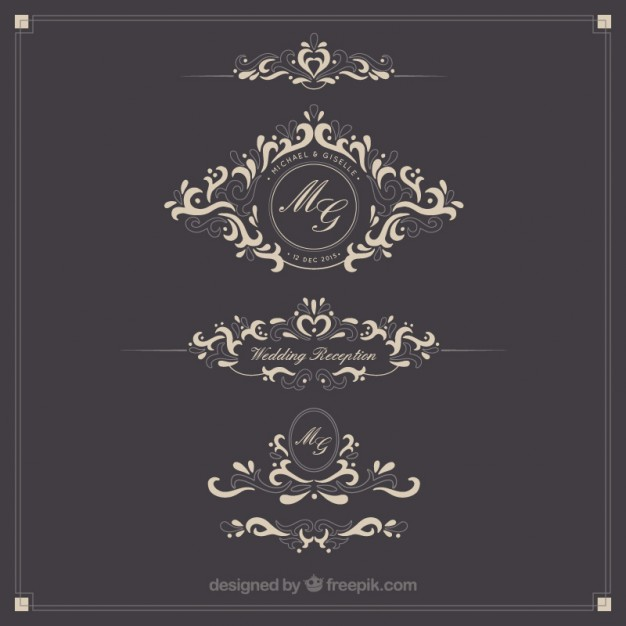626x626 Ornamental Wedding Logos Vector Free Download