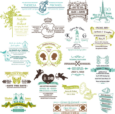 491x486 Set Of Wedding Logo Design Elements Vector Free Vector In