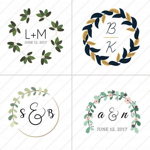 626x626 Floral Wreath Wedding Monogram Collection 4 In 1 Vector Premium