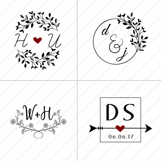 626x626 Hand Drawn Floral Wedding Monogram Collection 4 In 1 Vector