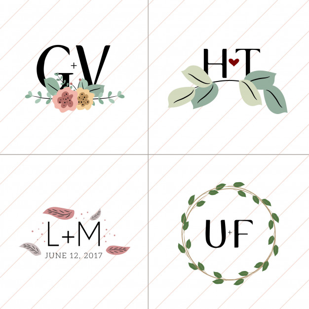 626x626 Simple Floral Wedding Monogram Collection 4 In 1 Vector Premium