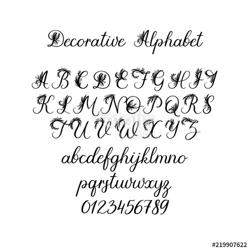 500x500 Vector Calligraphy Alphabet. Exclusive Floral Letters. Decorative