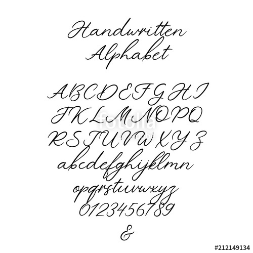 500x500 Vector Calligraphy Alphabet. Exclusive Letters. Decorative