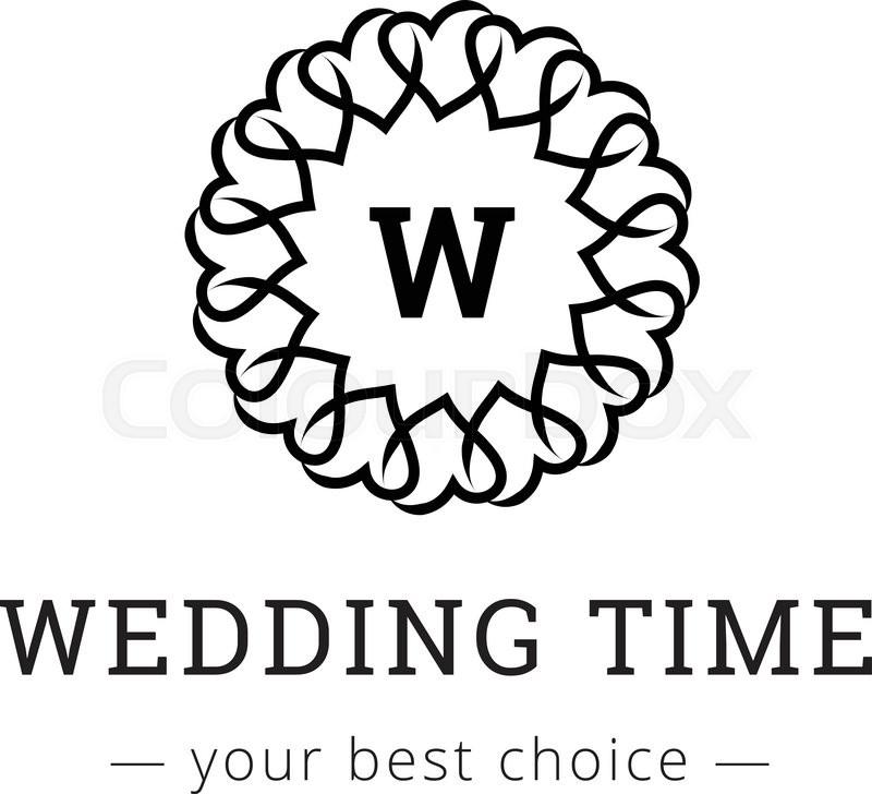 800x728 Vector Elegant Simple Monogram Logo. Wedding Agency Logotype