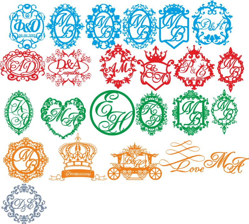 800x718 Wedding Monogram Vector Set Free Vector Download
