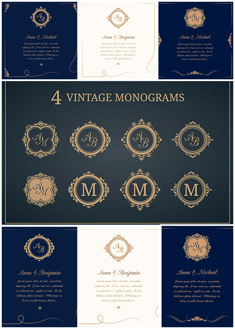 800x1120 Wedding Invitations With Monograms Vector Collection Free Download