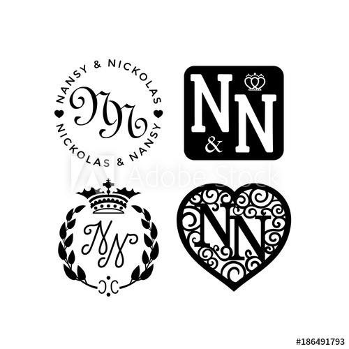 500x500 Wedding Monogram Logo Collection. Vector Illustration.