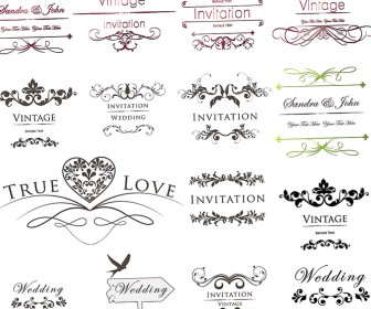 336x280 Inscription For Wedding Invitations With Floral Ornament Vector