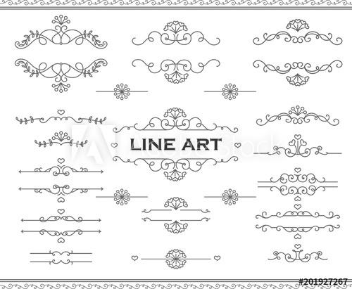 500x411 Line Art Frames And Scroll Elements. Floral Linear Border Design