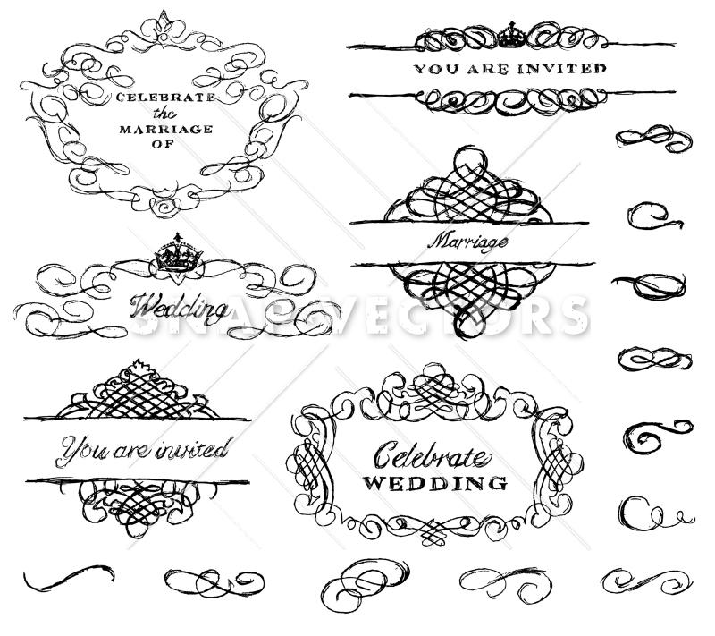 800x711 Vector Illustration Of Hand Drawn Wedding Ornament Set