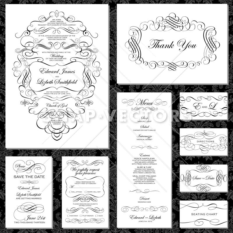 800x800 Vector Ornament Wedding Invitation Set