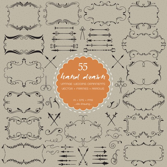 642x642 55 Hand Drawn Vintage Wedding Ornaments Digital Clip Etsy