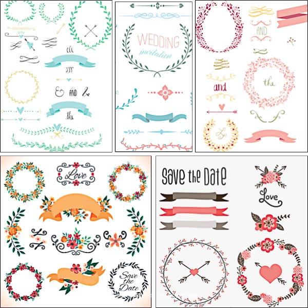 600x600 Wedding Laurels Ornament Set Vector Free Download