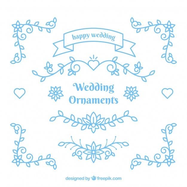 626x626 Blue Wedding Ornaments Vector Free Download