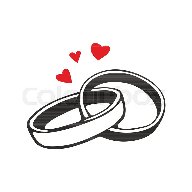 800x800 Vector Black Wedding Rings Icon On White Background Stock Vector